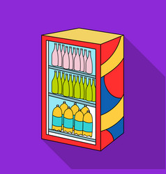 Fridge with drinks icon in flate style isolated on vector