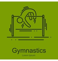 Gymnastics athlete at horizontal bar doing vector