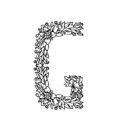 letters floral g vector image vector image