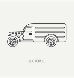 line flat plain icon service staff army van vector image vector image