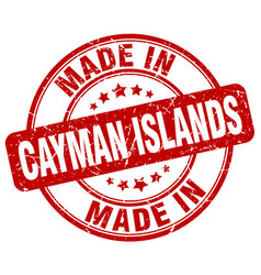 made in cayman islands red grunge round stamp vector image vector image