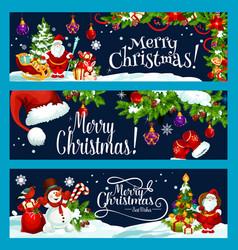 merry christmas santa gift tree wish banner vector image