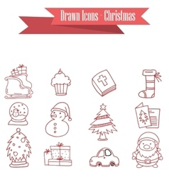Object of christmas icons set vector
