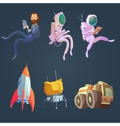 Outer Space Cartoon Set vector image