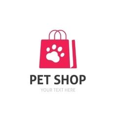 Pet shop logo isolated on white zoo store vector image