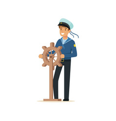 Sailor man character in blue uniform gripping vector