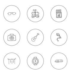 Set of 9 editable trip icons includes symbols vector