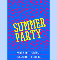 Summer party poster design layout neon color vector