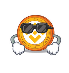 Super cool binance coin character catoon vector