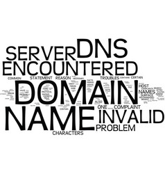 The dns server encountered an invalid domain name vector