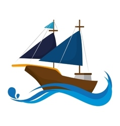 Sailboat sea ship vector
