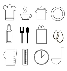 kitchen or cooking icon set vector image