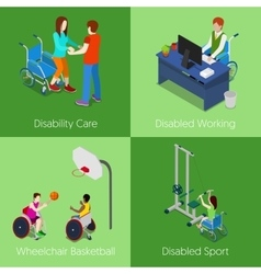 Isometric disabled people disability care vector