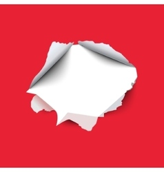 Torn hole in the sheet of red paper vector
