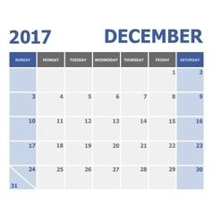 2017 december calendar week starts on sunday vector