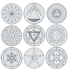 Mystery witchcraft occult alchemy mystical vector