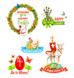 Easter holiday wishes cartoon emblem set vector
