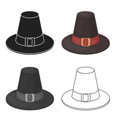 Pilgrim hat icon in cartoon style isolated on vector