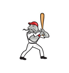 Catfish baseball hitter batting full isolated vector