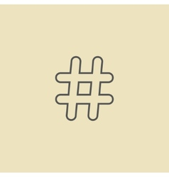 Outline black hashtag icon isolated on dark yellow vector
