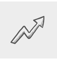 Lightning arrow upward sketch icon vector