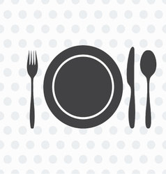 Plate knife fork spoon vector