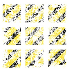 Nine old worn tattered scratch squares of yellow vector