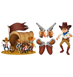 Western set with cowboy and guns vector image