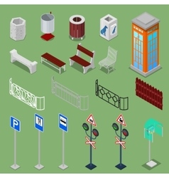 Isometric city urban elements vector