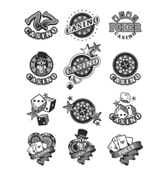 Set casino badge vector