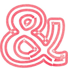 Abstract ampersand symbol made with red marker vector