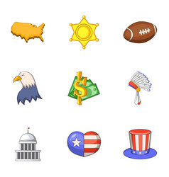 American icons set cartoon style vector