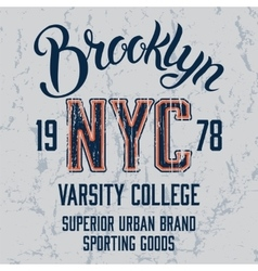 Brooklyn City print design vector image vector image
