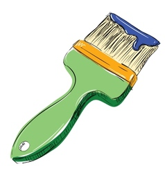 Brush with paint vector image vector image