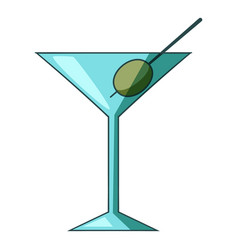 cocktail olive icon cartoon style vector image