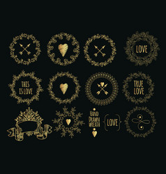 Collection of handdrawn gold laurels and wreaths vector