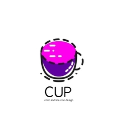 Color line icon for flat design Cup vector image vector image