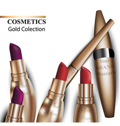 Colorful realistick lipstick package in gold vector