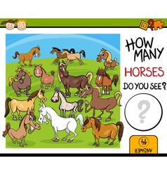 Counting task with horses cartoon vector