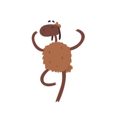 Cute funny sheep character standing on two legs vector