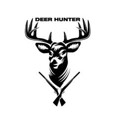 Deer head and shotguns vector