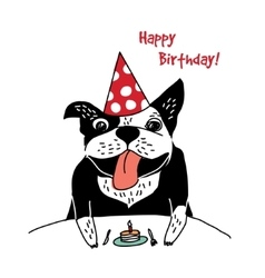 Dog French bulldog happy birthday cake greeting vector image