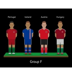 Football players Soccer teams Portugal Iceland vector image