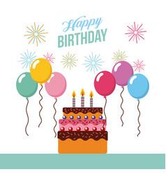 Happy birthday kawaii cake vector