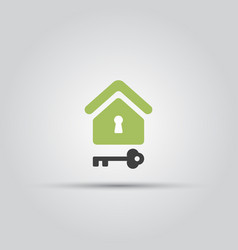 Home and key isolated colored icon vector