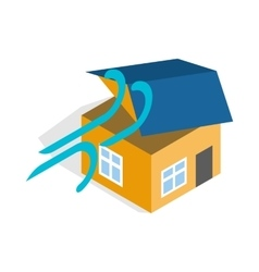 Hurricane destroyed house icon vector