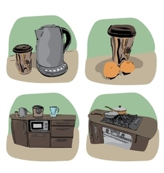 Kitchen icon - four variations vector