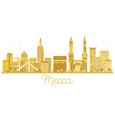 Mecca saudi arabia city skyline golden silhouette vector