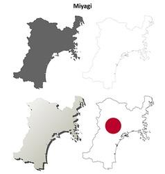 Miyagi blank outline map set vector