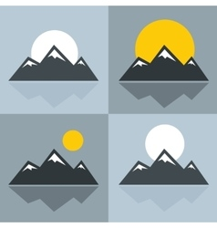 Mountain icons with sun and reflection vector image vector image